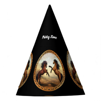 Dark Brown And Light Brown Friesian Draft Horses Party Hat