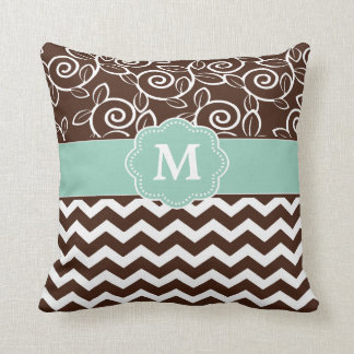 Dark Brown and Mint Green Chevron Monogram Throw Pillows