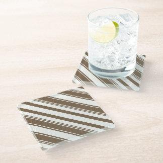 Dark Brown and White Diagonal Stripes Glass Coaster