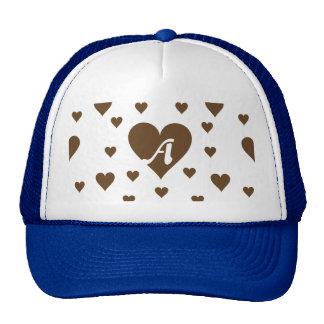 Dark Brown and White Hearts Monogram Trucker Hat