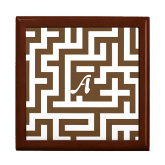 Dark Brown and White Maze Monogram Trinket Box