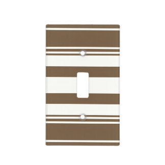 Dark Brown and White Modern Stripes Light Switch Cover
