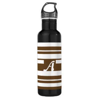 Dark Brown and White Random Stripes Monogram 24oz Water Bottle