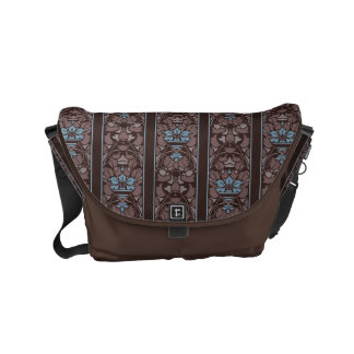 Dark brown art nouveau floral pattern small messenger bag