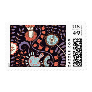 Dark Brown Background With Funky Colorful Flowers Postage Stamp