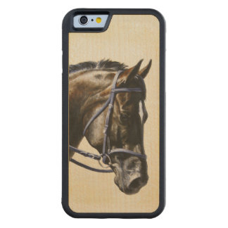 Dark Brown Bay Trakehner Dressage Horse Carved Maple iPhone 6 Bumper Case