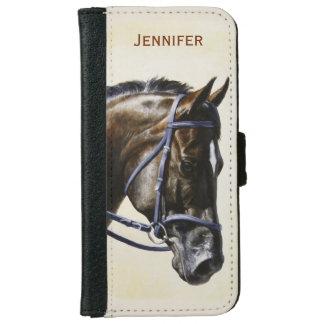 Dark Brown Bay Trakehner Dressage Horse iPhone 6/6s Wallet Case