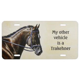 Dark Brown Bay Trakehner Dressage Horse License Plate