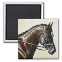 Dark Brown Bay Trakehner Dressage Horse Magnet
