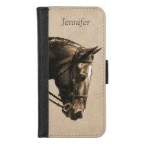 Dark Brown Bay Warmblood Dressage Horse Sepia iPhone 8/7 Wallet Case