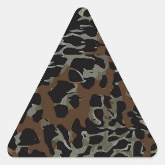 Dark Brown Black Cheetah Abstract Triangle Sticker