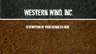 Vintage western business cards zazzle dark brown black tooled leather business card colourmoves