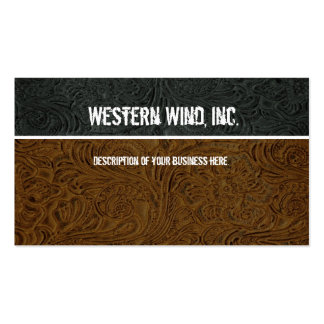 Dark Brown Black Tooled Leather Business Card