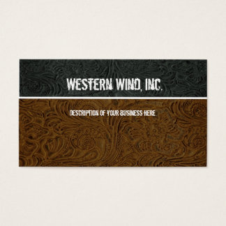 Dark Brown, Black Tooled Leather Business Card