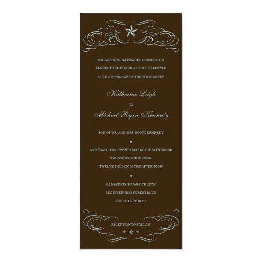 Dark Brown & Blue Lone Star Wedding Invitations