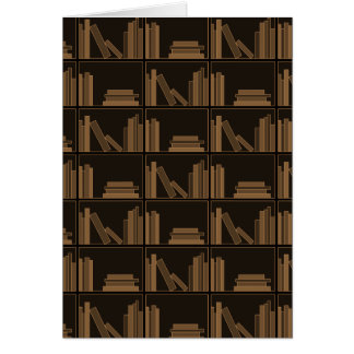 Dark Brown Books on Shelf. Card