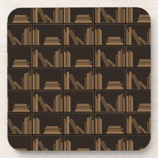 Dark Brown Books on Shelf. Coasters