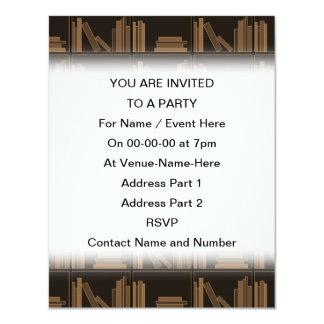 Dark Brown Books on Shelf. Personalized Invites