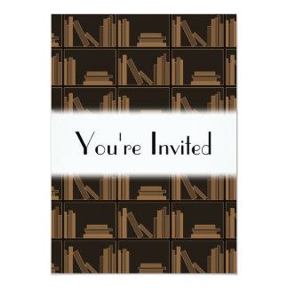 Dark Brown Books on Shelf. Custom Announcements