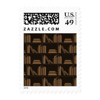 Dark Brown Books on Shelf. Postage Stamps