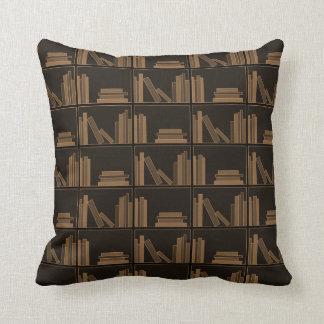 Dark Brown Books on Shelf. Throw Pillow