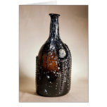 Dark brown bottle, probably Nailsea Greeting Card