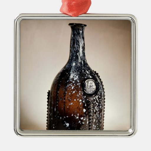 Dark brown bottle, probably Nailsea Square Metal Christmas Ornament