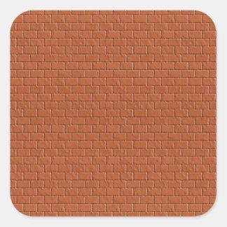 Dark Brown Bricks Lable Label - Print in L Shade Square Sticker