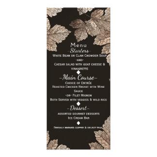 Dark Brown & Bronze Leaves Rustic Fall Menu