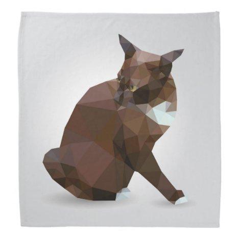 Dark brown cat low polygon bandana
