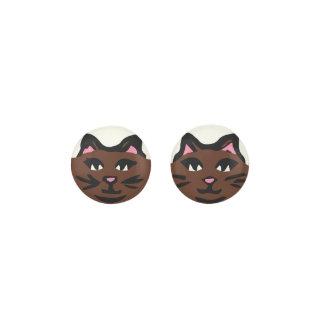 DARK BROWN CAT, Pink Ears & Black Whiskers Earrings