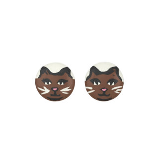 DARK BROWN CAT With White Whiskers Earrings