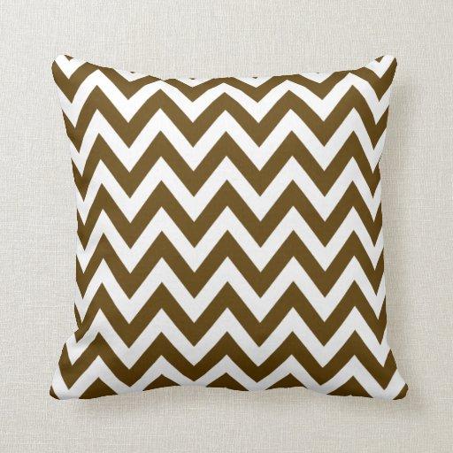 Dark Brown Chevron Zigzag Pattern Throw Pillows