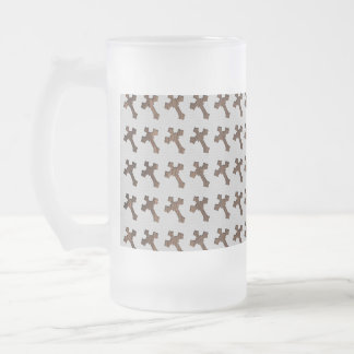 Dark Brown Cross on White Background Frosted Beer Mugs