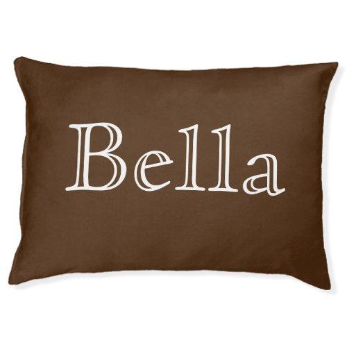 Dark Brown Custom Name Modern Pet Bed