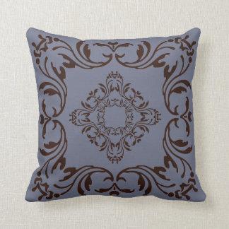 Dark brown damask pattern | Slate gray background Throw Pillow