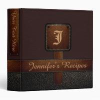 Dark Brown Elegant Recipe Leather Look Binder