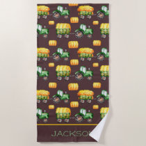 Dark Brown Farm Watercolor Green Tractor Kids Beach Towel