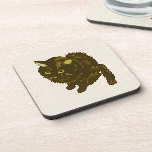 Dark Brown Fluffy Sitting Kitty Beverage Coaster