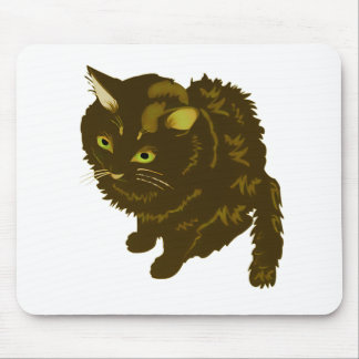 Dark Brown Fluffy Sitting Kitty Mouse Pad