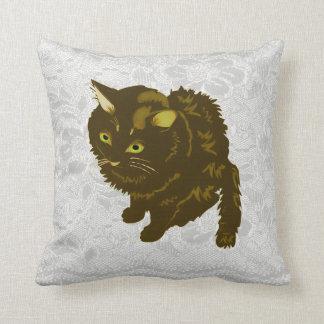Dark Brown Fluffy Sitting Kitty Pillows