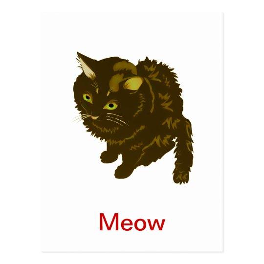 Dark Brown Fluffy Sitting Kitty Postcard