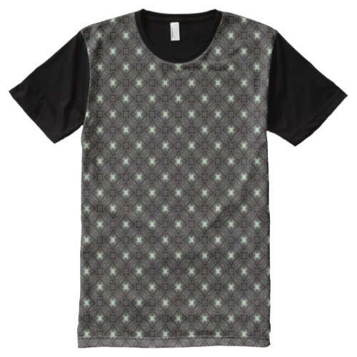 Dark Brown Geometric Pattern All_Over_Print T_Shirt
