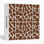 Dark Brown Giraffe Pattern Binder