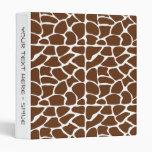 Dark Brown Giraffe Pattern Binders