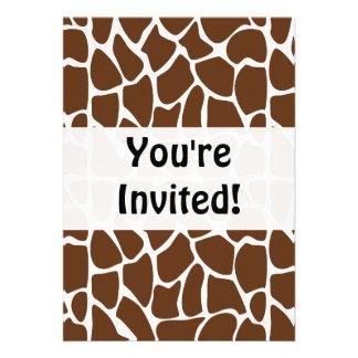 Dark Brown Giraffe Pattern Personalized Announcement