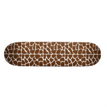 Dark Brown Giraffe Pattern Skateboard Deck