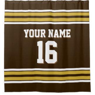 Dark Brown Gold White Stripes Sports Jersey Shower Curtain