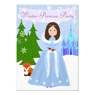 Dark Brown Hair Winter Princess Party 4.5x6.25 Paper Invitation Card
