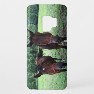 Dark brown Horses on pasture Case-Mate Samsung Galaxy S9 Case